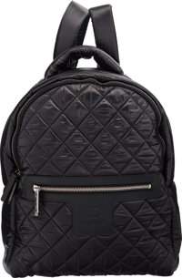 "Chanel Black Quilted Nylon Backpack Bag with Silver Hardware Excellent to Pristine Condition 12"" Width x 13""..."