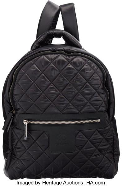 1d238ba322d0 Chanel Black Quilted Nylon Backpack Bag with Silver