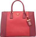 """Luxury Accessories:Bags, Prada Cerise & Fuoco Red Saffiano Leather Lux Tote Bag. VeryGood to Excellent Condition. 14"""" Width x 10"""" Height x 6""""Dept..."""