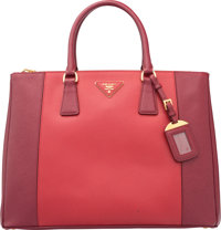 """Prada Cerise & Fuoco Red Saffiano Leather Lux Tote Bag Very Good to Excellent Condition 14"""" Width x 10"""" He..."""