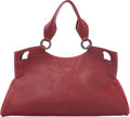"Luxury Accessories:Bags, Cartier Red Leather Tote Bag. Very Good Condition. 17"" Width x9"" Height x 6"" Depth. ..."