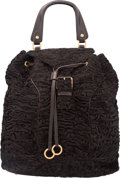 """Luxury Accessories:Bags, Yves Saint Laurent Brown Marbled Mohair & Leather Backpack Bag.Very Good Condition. 13"""" Width x 12"""" Height x 7""""Depth..."""