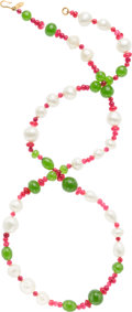 """Luxury Accessories:Accessories, Chanel Red, Green, & Pearl Glass Bead Necklace. Excellent Condition. 37"""" Length x 0.5"""" Width. ..."""