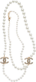 "Luxury Accessories:Accessories, Chanel Silver Crystal & Glass Pearl CC Necklace with Gold Hardware. Excellent Condition. 1.25"" Width x 44"" Length. ..."