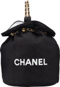 "Luxury Accessories:Accessories, Chanel Black Canvas Drawstring Backpack. ExcellentCondition. 11"" Width x 13.5"" Height x 11"" Depth. ..."