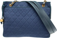 "Chanel Blue Quilted Fabric Medium Shopping Tote with Gold Hardware Very Good Condition 12.5"" Widt"