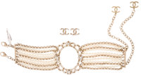 Chanel Set of Two; Silver & Clear Crystal Choker Necklace and Earrings with Gold Hardware Pristine Condition
