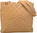 "Luxury Accessories:Bags, Chanel Biege Quilted Caviar Leather Grand Shopping Tote with GoldHardware. Excellent Condition. 10"" Width x 9""Height..."