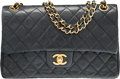 "Luxury Accessories:Accessories, Chanel Black Quilted Lambskin Leather Small Double Flap Bag with Gold Hardware.. Very Good Condition. 9.5"" Width x 6"" Heig..."