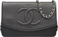 "Chanel Black Caviar Leather Diana Wallet on Chain Excellent Condition 7.5"" Width x 5"" Height x .5"