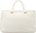 "Luxury Accessories:Bags, Bottega Veneta White Intrecciato Nappa Leather Tote Bag withGunmetal Hardware. Excellent Condition. 14.5"" Width x9.5..."