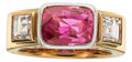 Estate Jewelry:Rings, Pink Sapphire, Diamond, Gold Ring. ...
