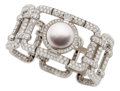 Estate Jewelry:Bracelets, Mabe Pearl, Diamond, Platinum Bracelet. ...