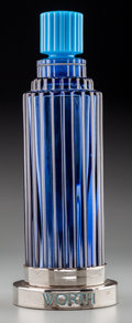 Art Glass:Lalique, R. Lalique Navy and Sky Blue Glass Je Reviens Factice forWorth . Raised on chromed stand.. Circa 1929. Ht. 12-1...