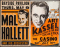 "Movie Posters:Rock and Roll, Mal Hallett and His Orchestra at the Bayside Pavilion & OtherLot (Unknown, 1930s-1940s). Concert Window Cards (2) (14"" X 22...(Total: 2 Items)"