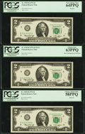 Error Notes:Shifted Third Printing, Fr. 1935-H $2 1976 Federal Reserve Notes. Three Consecutive Examples. PCGS Choice About New 58PPQ-Very Choice New 64PPQ.. ... (Total: 3 notes)