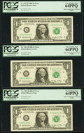 Error Notes:Miscellaneous Errors, Fr. 1932-B $1 2006 Federal Reserve Notes. Six Consecutive Examples. PCGS Very Choice New 64PPQ-Gem New 65PPQ.. ... (Total: 6 notes)