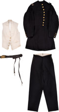 Military & Patriotic:Civil War, Civil War Union Officer's Frock Coat, Trousers White Vest, Sword Belt, Sash, Gauntlets, and Cartes de Visite Ident...