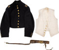 Military & Patriotic:Civil War, Civil War Union Officer's Shell Jacket, White Vest, Brown Sword Belt, Sash and Cartes de Visite Identified to Capt...