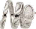 Estate Jewelry:Watches, Bvlgari Lady's Diamond, Stainless Steel Serpenti Tubogas BraceletWatch. ...