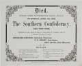 """Military & Patriotic:Civil War, Satiric Placard Announcing """"Death of Southern Confederacy""""...."""