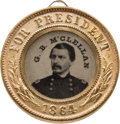 Political:Ferrotypes / Photo Badges (pre-1896), George McClellan: Back-to-Back Ferrotype....