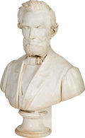 Antiques:Decorative Americana, Abraham Lincoln: Circa 1865 Life-Size Marble Bust by Pio Fedi....