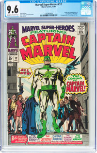 Marvel Super-Heroes #12 Captain Marvel (Marvel, 1967) CGC NM+ 9.6 Cream to off-white pages