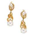 Estate Jewelry:Earrings, Cultured Pearl, Gold Convertible Earrings. . ... (Total: 2 Items)