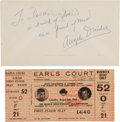 Boxing Collectibles:Autographs, 1966 Ali vs. London Full Ticket and Angelo Dundee SignedEnvelope....