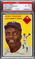 Baseball Cards:Singles (1950-1959), 1954 Topps Jackie Robinson (Gray Back) #10 PSA EX-MT 6 - Pop Two,One Higher....