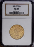 Liberty Eagles: , 1891-CC $10 MS62 NGC. The '91-CC is easily the most common Eagle from the Carson City Mint, yet quite difficult to find nic...