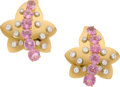 Estate Jewelry:Earrings, Pink Sapphire, Diamond, Gold Earrings, Aletto Bros.. ... (Total: 2 Items)