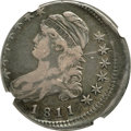 Bust Half Dollars, 1811 50C Small 8, O-112, Low R.4 -- Struck 10% Off Center -- VF25 NGC....