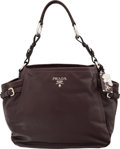 """Luxury Accessories:Bags, Prada Prugna Brown Leather Shoulder Bag. ExcellentCondition. 13"""" Width x 11"""" Height x 5"""" Depth. ..."""