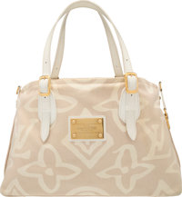 "Louis Vuitton Beige & White Canvas Tote Bag Very Good Condition 16"" Width x 10"" Height x 6"" Depth"
