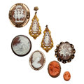 Estate Jewelry:Cameos, Shell Cameo, Coral Cameo, Cultured Pearl, Gold, Silver, Base MetalJewelry. ... (Total: 7 Items)