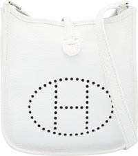 Hermes White Clemence Leather Evelyn TPM Bag with Palladium Hardware F Square, 2002 Excellent Condition 6