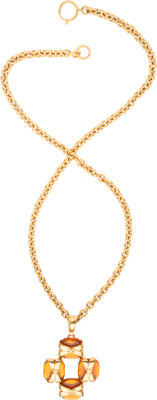 "Chanel Gold & Citrine Gripoix Cross Necklace Excellent Condition 30"" Length x 2"" Width"