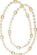 "Luxury Accessories:Accessories, Chanel Gold & Citrine Crystal Sautoir Necklace. ExcellentCondition. 56"" Length x 0.5"" Width. ..."