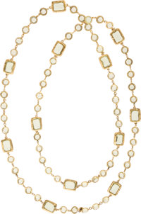 """Chanel Gold & Citrine Crystal Sautoir Necklace Excellent Condition 56"""" Length x 0.5"""" Width"""