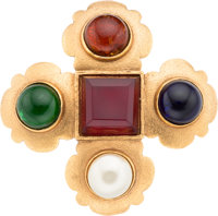 """Chanel Gold & Gripoix Glass Cross Brooch Excellent Condition 3.5"""" Length x 3.5"""" Width"""