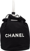"Luxury Accessories:Bags, Chanel Black Canvas Drawstring Backpack. ExcellentCondition. 11"" Width x 13.5"" Height x 11"" Depth. ..."