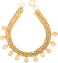 "Luxury Accessories:Accessories, Chanel Gold Triple Chain Necklace. Excellent Condition. 16""Length. ..."