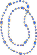 "Luxury Accessories:Accessories, Chanel Gold & Sapphire Crystal Sautoir Necklace. ExcellentCondition. 56"" Length x 0.5"" Width. ..."