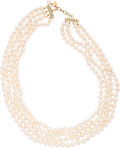 "Luxury Accessories:Accessories, Chanel Four Strand Glass Pearl Necklace. Excellent Condition.22"" Length. ..."