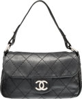 "Luxury Accessories:Bags, Chanel Black Quilted Distressed Leather On The Road Bag with SilverHardware. Very Good Condition. 13"" Width x 7"" Heig..."