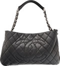 "Luxury Accessories:Bags, Chanel Black Quilted Caviar Leather Zip Around Tote Bag with SilverHardware. Excellent Condition. 17"" Width x 10.5"" Heigh..."