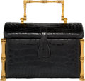 "Luxury Accessories:Bags, Judith Leiber Shiny Black Alligator Box Top Handle Evening Bag.Very Good Condition. 7"" Width x 4.5"" Height x 4"" Depth. ..."