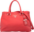 "Luxury Accessories:Bags, Prada Fuoco Red Cervo Leather Tote Bag. Excellent Condition.14"" Width x 10"" Height x 8"" Depth. ..."
